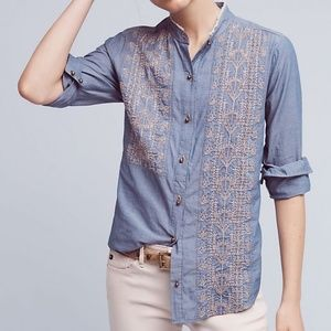 Tiny Embroidered Chambray Button-down